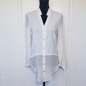 Helmut Lang White Vneck Silk Button Up Shirt